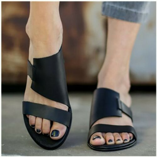 Details about  /Womens Ladies Cut Out Peep Toe Flat Sandals Summer Holiday Slip On Shoes 35-43 B
