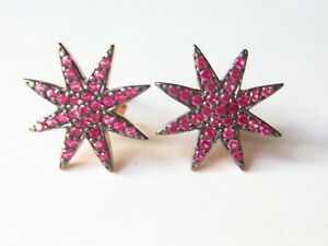 ROSE-GOLD-PLATED-925-STERLING-SILVER-RUBY-STAR-STUD-EARRINGS-HANDMADE