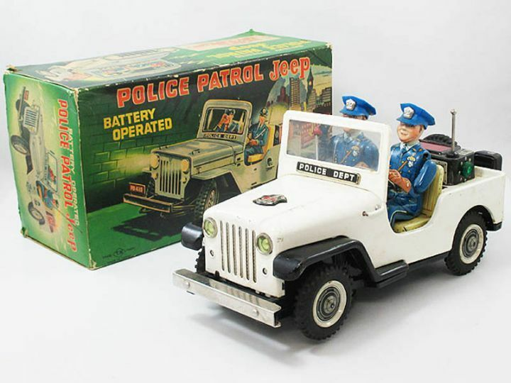 Vintage 1960s Nomura Toy Police Patrol JEEP Tin Toy Mystery Action from Japan
