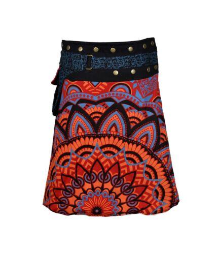 Ladies Fashion Multicolored Wrap Round Hippy Popper Skirt