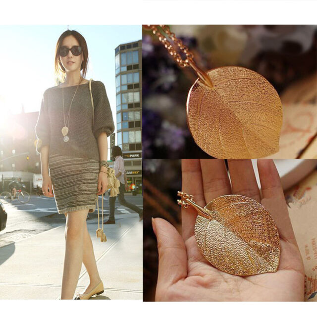 DCW Fashion Elegant Lucky Golden Leaf Pendant Necklace Long Sweater Chain Lady