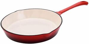 Hamilton-Beach-8-034-Enameled-Coated-Solid-Cast-Iron-Frying-Pan-Skillet-Red