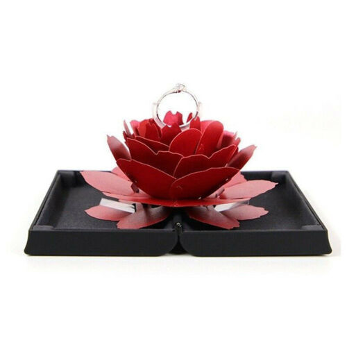 Folding Rose Ring Box Birthday Jewelry Display Boxes Gift with Wedding ValentiDS