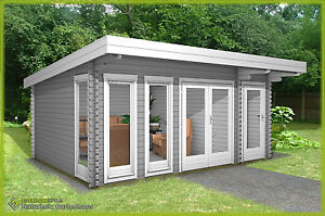 flachdach gartenhaus aus holz modern 40mm 2 raum blockhaus lingen 40211