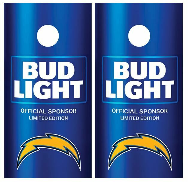 Bud Light   Los Angeles Chargers Cornhole Board Skin Wrap FREE Laminate