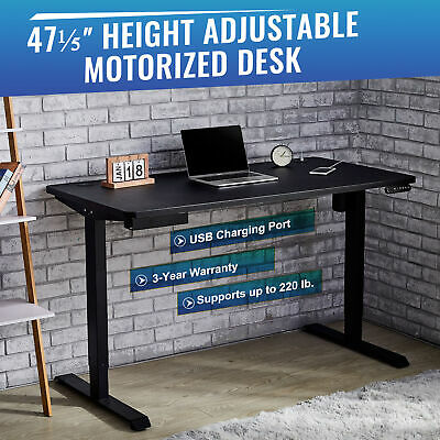 Details about  120CM Adjustable Height Computer Desk Sitting & Standing Office Home Table W/USB