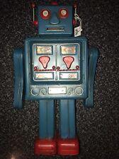 Antiqued Large Metal Retro 50'S Robot Money Box Piggy Bank