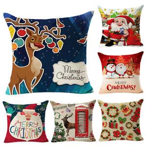 PM-Christmas-Santa-Deer-Snowman-Pillow-Case-Cushion-Cover-Sofa-Decor-Beamy