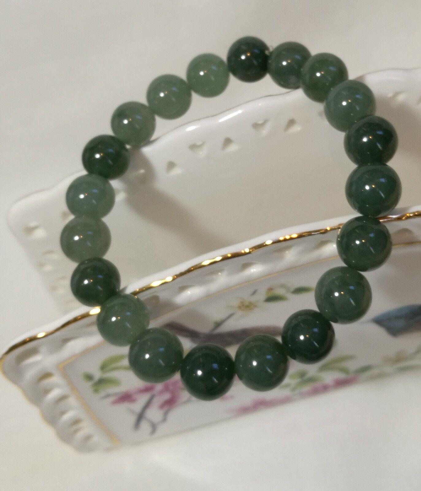 Certified A grade oil green 10mm jadeite jade bracelet adjustable length 20pcs