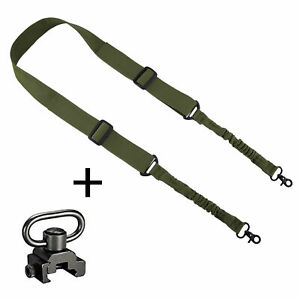 Black Adjustable Rifle Sling Shoulder Strap Trigger Snap with M-lok QD Swivel