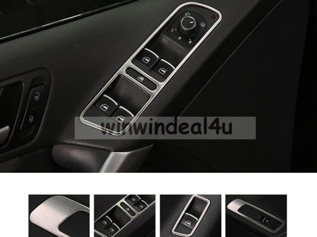 FOR 13-15 VW TIGUAN WINDOW MIRROR SWITCH TRIM COVER STICKER STAINLESS STEEL