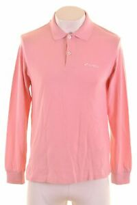 LOTTO-Mens-Polo-Shirt-Long-Sleeve-Large-Pink-Cotton-Custom-Fit-NC10