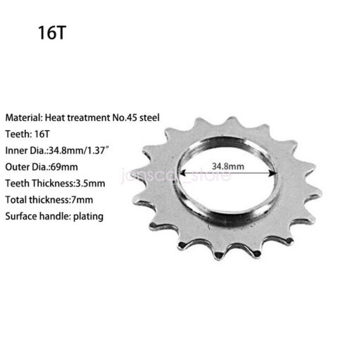 Bicycle Sprocket Fixed Gear Speed Cog Lock Ring 13T//14T//15T//16T//17T Track Bike