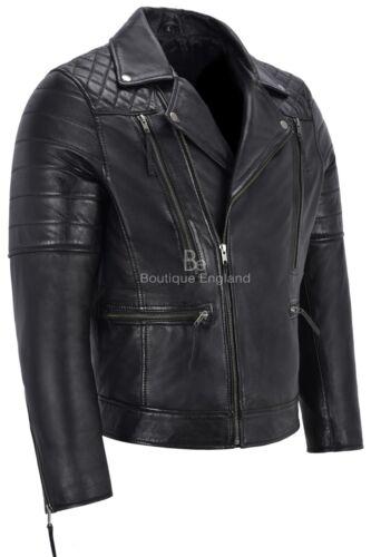 Men/'s Real Leather Jacket Black Napa New Fashion Biker Motorcycle Style 3205