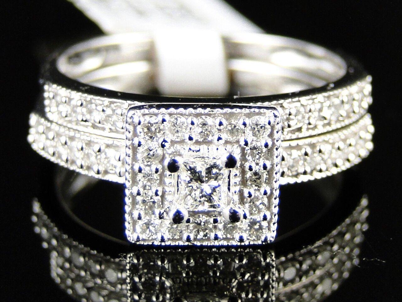 Womens White gold Princess Cut Diamond Engagement Bridal Wedding Ring Set 1 2 Ct