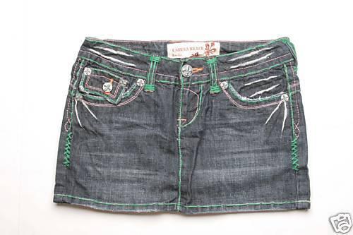 Laguna Beach Jean Salt Creek Green Stitch Mini Skirt 27