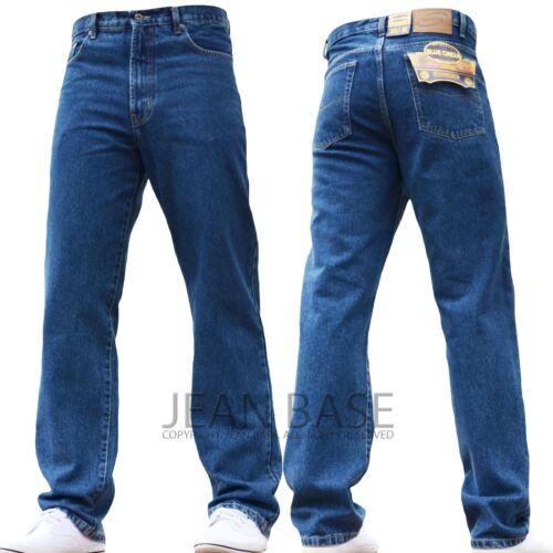 NEW MENS STRAIGHT LEG REGULAR FIT PLAIN BLUE DENIM JEANS ALL WAIST /& SIZES M1