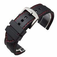22mm 24mm Silicone Watch Band Wrist Rubber Mens Strap Sport Diver Waterproof
