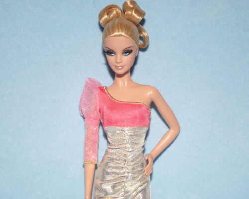 One Sleeve Gold and Coral Pink Peach Dress Genuine BARBIE Fashion SUAVE