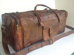 24-034-Men-039-s-genuine-Leather-luggage-gym-clothing-overnight-duffle-bag-large-vintage
