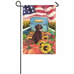 All-American-Dog-Garden-Flag-Chocolate-Laborador-Truck-Fall-Double-Sided-12-5x18
