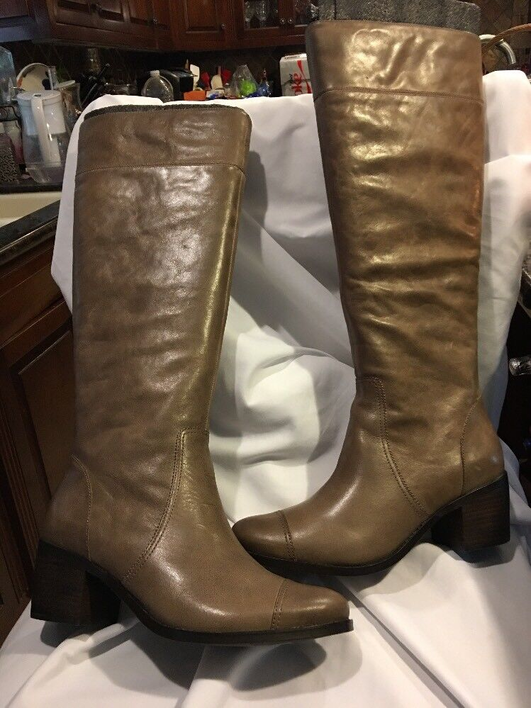 5 48 Saks Saks Saks Fifth Ave Boots Taupe Geena shoes Zipper Leather Block Heel Distressed f1ca1c