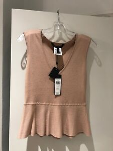 BCBG-MAXAZRIA-Alonya-Peplum-Top-Size-S-Bare-Pink-New-With-Tags-Free-Ship