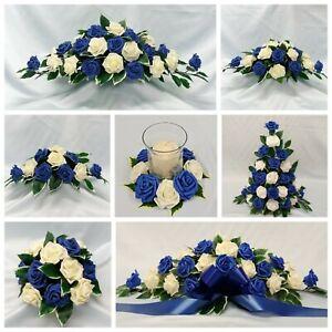 Details About Royal Blue Wedding Flowers Top Table Decoration Pedestal Candle Ring Arrangement
