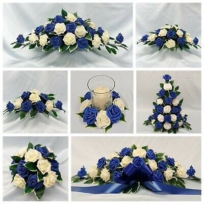 Royal Blue Wedding Flowers Top Table Decoration Pedestal Candle ...