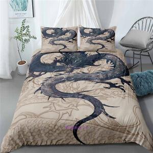 Single-Double-Queen-King-Size-Bed-Doona-Duvet-Quilt-Cover-Set-Linen-Dragon-Beige