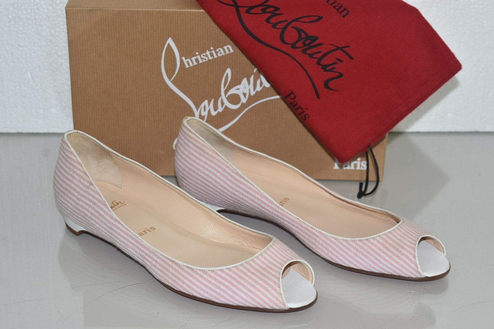 NEW Christian Louboutin MUMBAI Flats Pink White Seersucker Peep Toe Shoes 39