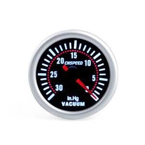 "2"" 52mm Universal Car Auto LED Smoke Lens 12V Vacuum Gauge 30 - 0 In.Hg Meter"