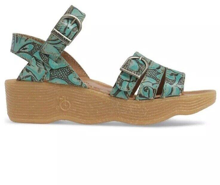 FAMOLARE Hi Up US Sz 5.5 Honeybucle Wedge Sandals Heel bluee Aqua Leather shoes