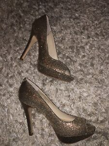 INC Sparkly Gold Heels Size 7 Classic