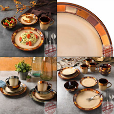 Microwave Safe Stone Dinner Ware Plate Dish Service Set Of 4 Kitchen 16Pc Dishes