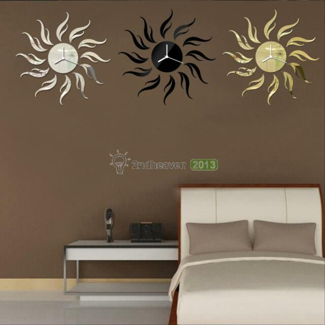 Modern 3D DIY Wall Clock Frameless Sun Sticker Watch Clock For Home Room Decor