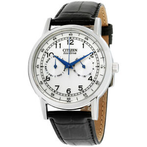 Citizen-Eco-Drive-Silver-Dial-Leather-Strap-Men-039-s-Watch-AO9000-06B