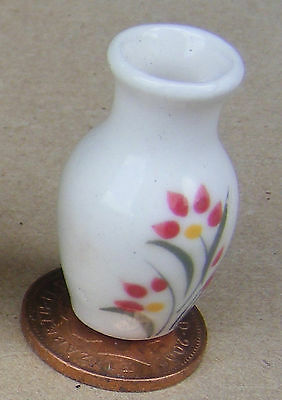 1:12 Scale Cream 3.1cm High Ceramic Vase Tumdee Dolls House Ornament Flower Cr23