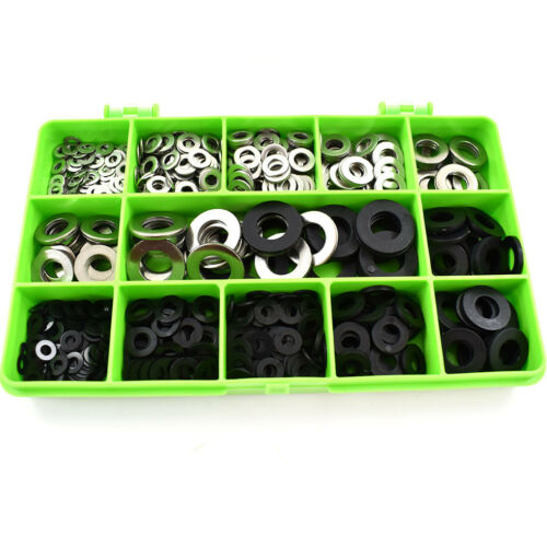 450 ASSORTED BLACK NYLON A4 STAINLESS FORM A WASHERS M3 M4 M5 M6 M8 M10 KIT
