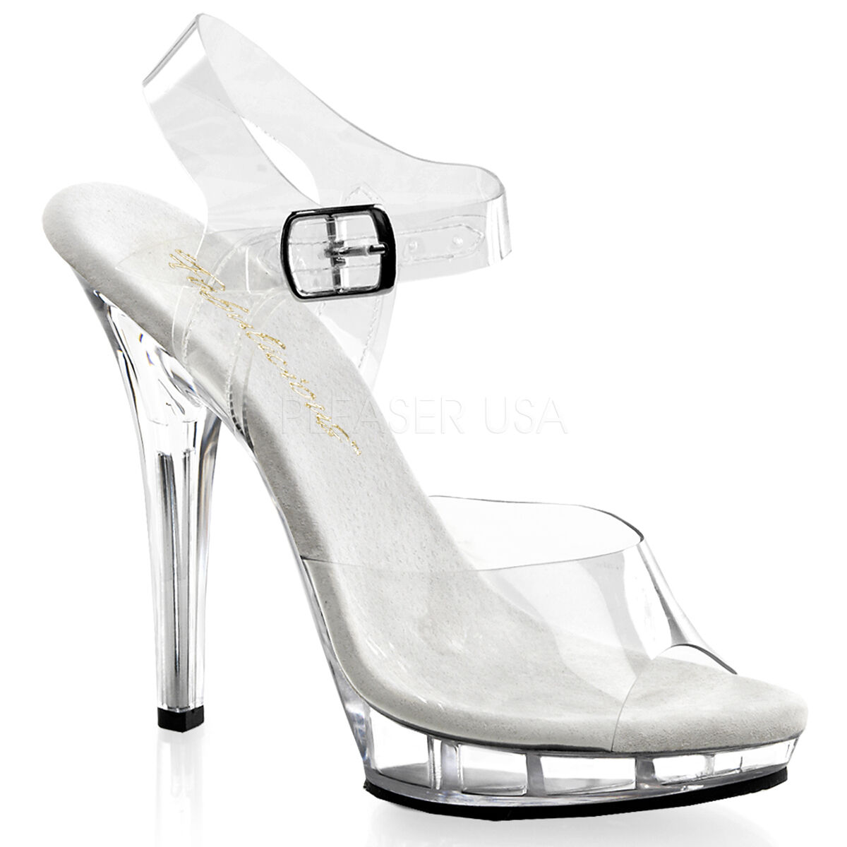 Fabulicius Lip 108 Clear Transparent Slippers Stiletto Heel Ankle Strap Sandals
