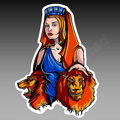 funny car bumper sticker.  CYBELE - Nature Goddess with Lions 95 x 128mm decal