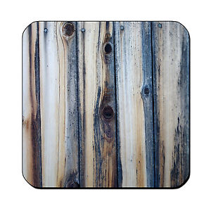 4-DRINK-COASTERS-Wood-2-Teal-Blue-Gray-glossy-wood-bar-country-rustic