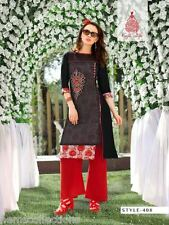 XL Elegant Designer Heavy Kora Silk+Rayon Cotton Embroidered Kurti, Kurta,Tunic