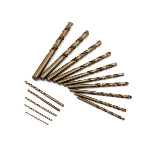 15Pcs High Speed Steel HSS-Co M35 Cobalt Drill Bit Set 1.5-10MM Steel Pounch  TC