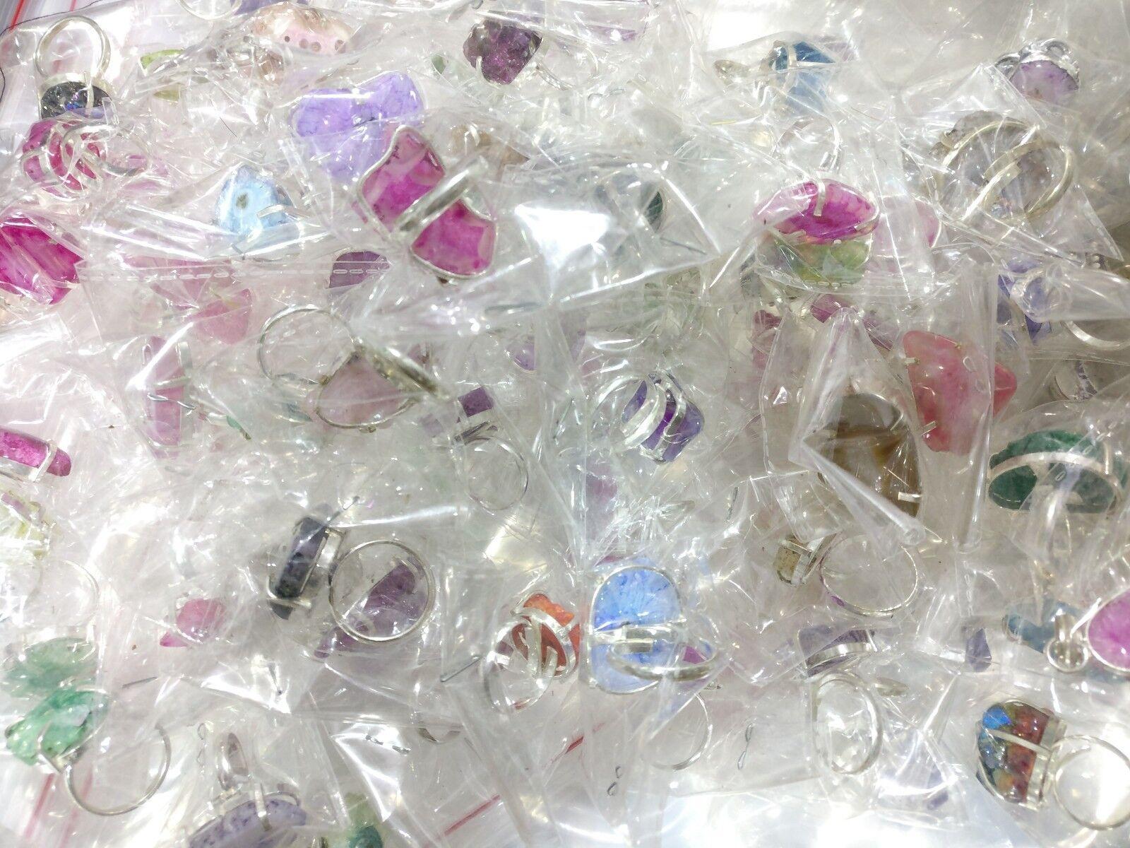 Mix Duzy Agate Fancy Stone Mix RIngs Wholesale Lot 50 pcs