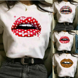 Lady-Lips-Printed-Short-Sleeve-T-Shirt-Ladies-Casual-Round-Neck-Blouse-Tee-Tops