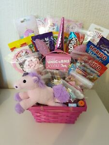 Image is loading Unicorn-gift-basket-h&er-headbands-hair-clips-nail- & Details about Unicorn gift basket hamper headbands hair clips nail polish soft toy sweets choc