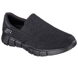 Black-Skechers-Shoe-Slip-On-Men-Memory-Foam-51521-BBK-Comfort-Casual-Mesh-Fabric