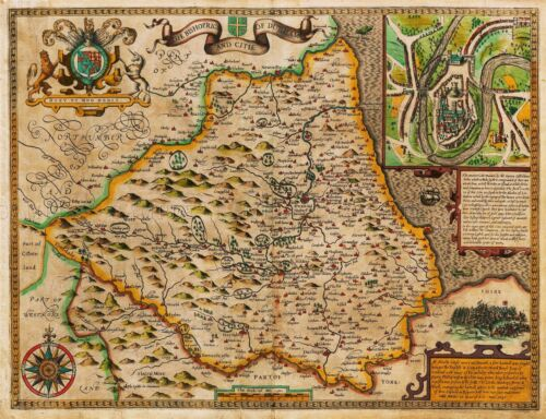 MAP ANTIQUE 1611 SPEED BISHOPRIC CITY DURHAM LARGE REPLICA POSTER PRINT PAM0021