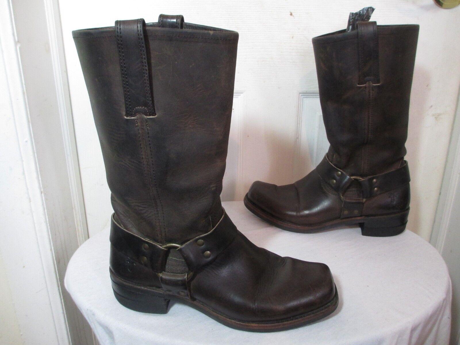 FRYE 12R 87350 GAU Homme gaucho cuir marron ceinture harnais Bout Carré bottes 9 m